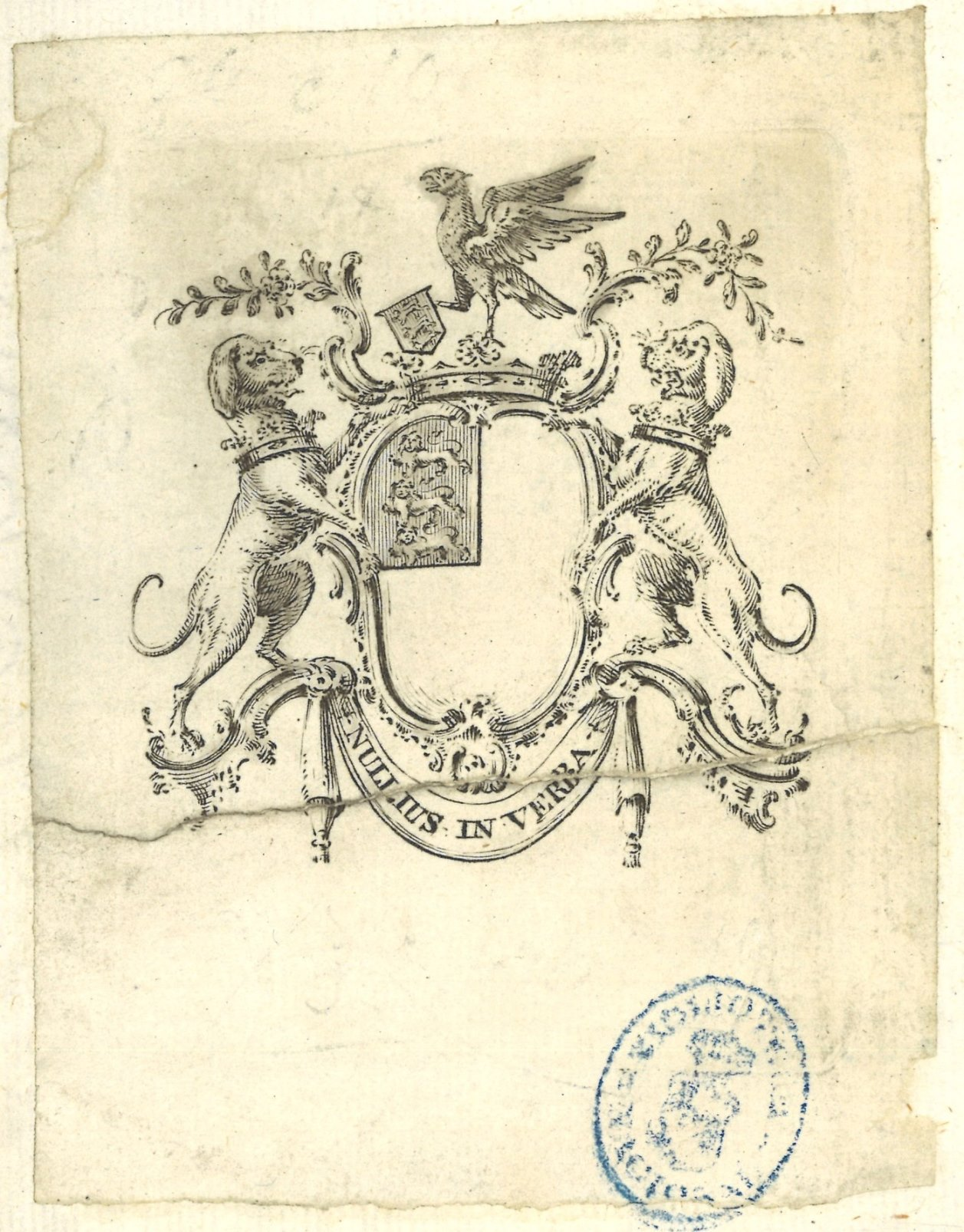 """Exlibris heráldico impreso, con el escudo de armas de la Royal Society: de plata, cantón de Inglaterra: de gules, tres leopardos de oro, armados y lampasados de azur puestos en palo; dos perros rampantes como soportes; al timbre, corona, y sobre ella, cimera de águila; filactelia con el lema """"Nullius in verba"""""""