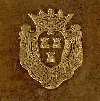 Supralibros heráldico con el escudo de armas de Jeanne Antoinette Poisson, marquise de Pompadour: de azur, con tres torres de plata; sobre manto de armiño; al timbre corona de marquesa