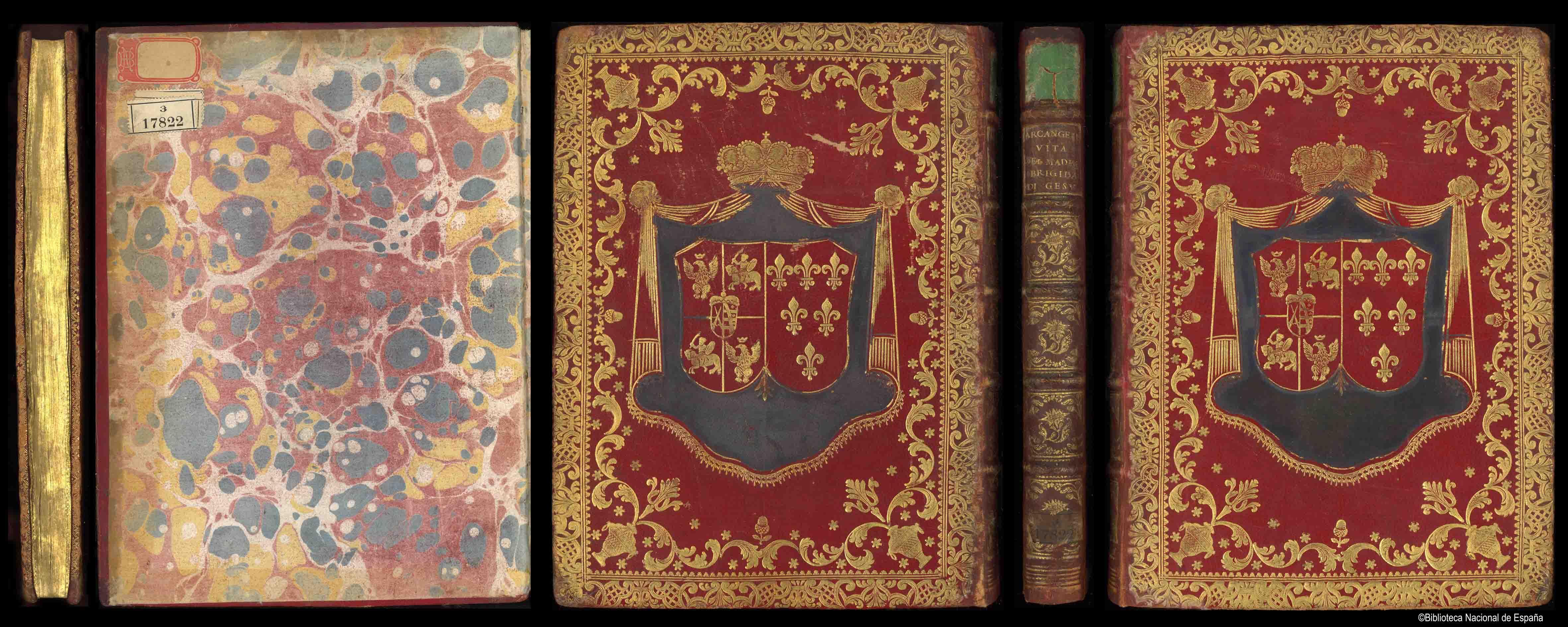 Encuadernación heráldica en tafilete rojo, con decoración estilo rococó; orla exterior rematada por encuadramiento de doble hilo y rueda dentada; jarrones en las esquinas de los que parte una orla formada por rocallas, estrellas y pequeñas bellotas, que enmarcan un supralibros central con las armas de Polonia-Lituania y de la casa de Parma sobre manto pintado de azul y bajo corona real; pertenecientes, respectivamente a las reinas Maria Amalia de Sajonia e Isabel de Farnesio; lomo con seis nervios, con entrenervios cuajados con motivos florales; cantos decorados; cortes dorados y cincelados; hojas de guarda de papel marmoleado. Según J.M. de Francisco Olmos, esta encuadernación pudo ser un regalo de Maria Amalia de Sajonia a su suegra, Isabel de Farnesio, a su llegada a España, lo cual justificaría la presencia de las ar mas de ambas reinas