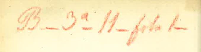 """Sello ovalado en tinta azul: """"Biblioteca de D. F. A. Barbieri"""". El sello se estampó en el momento del ingreso de los ejemplares en la Biblioteca Nacional,Anotación manuscrita que suele figurar en el verso de la hoja de guarda volante anterior. La signatura se compone de cuatro tramos separados por guiones, que corresponden al estante, la tabla, la fila y el número asignados al documento en la biblioteca privada de Barbieri"""