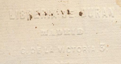 """Sello en seco: """"Librería de Durán, Madrid, C. de la Victoria, 3"""""""