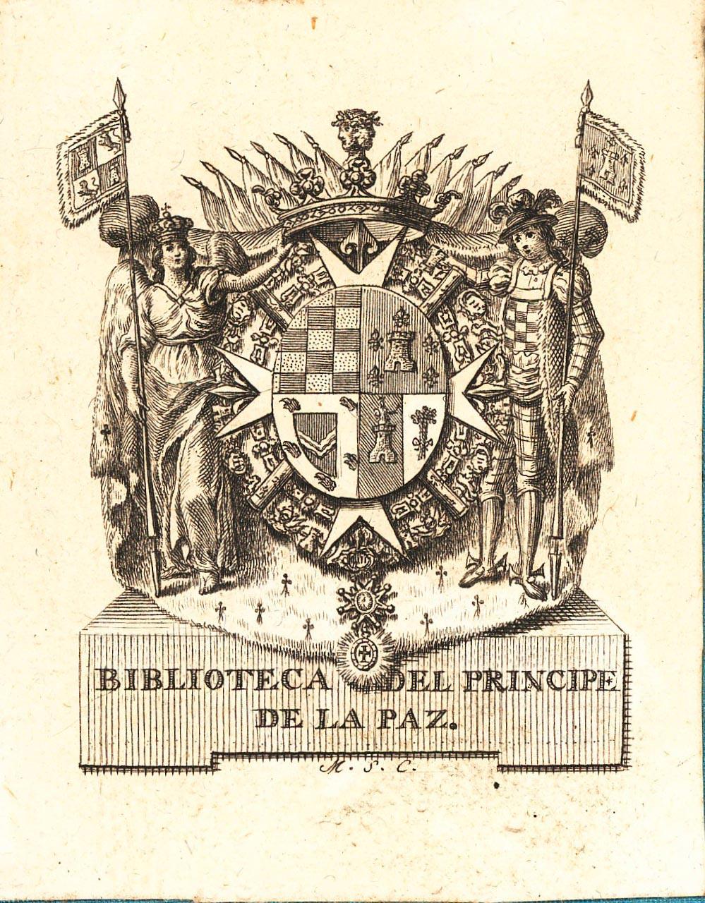 Escudo cuartelado: 1º (Godoy), jaquelado de oro y azur. 2º (Álvarez de Faria), de gules, un castillo de plata, dos flores de lis de oro a cada lado y una sobre el castillo. 3º (Sánchez de los Ríos), de sinople, brazo vestido, bordura de plata con cinco cabezas de águila; 4º, partido, (Zarzosa), De azur, pájaro sobre castillo de plata; De plata con zarza de sinople. Al timbre, cruz de Malta, bastones de mariscal en aspa, y collares de la Orden del Toisón, de Carlos III y de la cruz de Cristo; Tenantes a diestra y siniestra portando estandartes con el cuartelado de san Fernando y el blasón de los Álvarez de Faría; corona ducal entre estandartes. Al pie: Biblioteca de Príncipe de la Paz. Grabado por M.S.C. (Manuel Salvador Carmona)