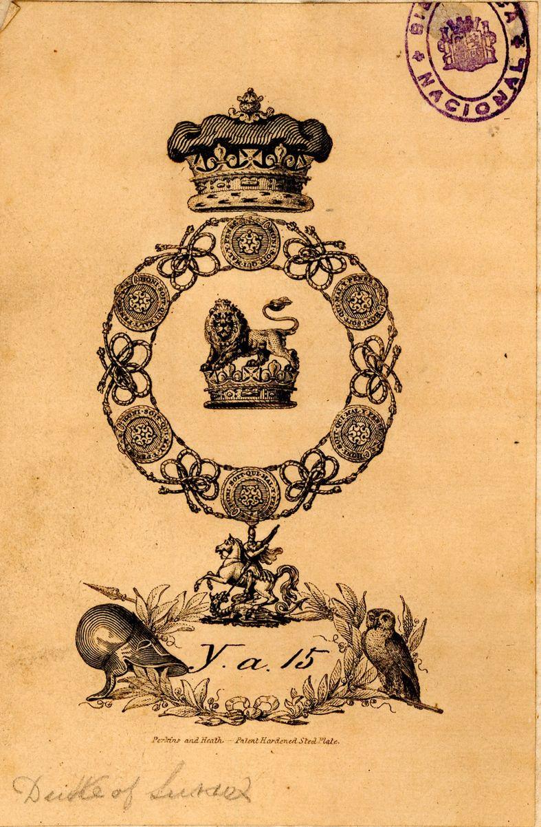 """Exlibris heráldico perteneciente a Augustus Frederick, Duque de Sussex, formado por el collar de la Orden de la Jarretera , con corona ducal al timbre. Dentro del collar, león pasante coronado sobre una corona. Con firma del grabador: """"Perkins and Heath Hardened Steel Plate"""""""