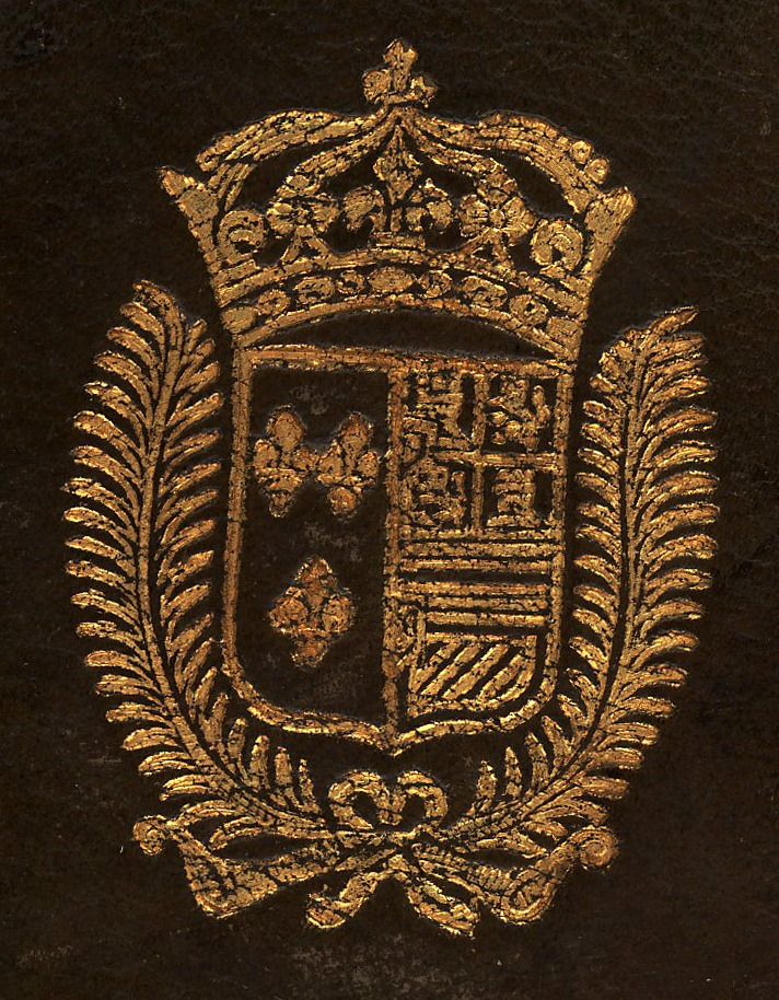Supralibros heráldico con el escudo de armas de María Teresa, Reina consorte de Luis XIV, Rey de Francia: partido, 1º (Francia) de azur, tres flores de lis de oro; 2º (España); al timbre corona real; rodeada por dos hojas de palma