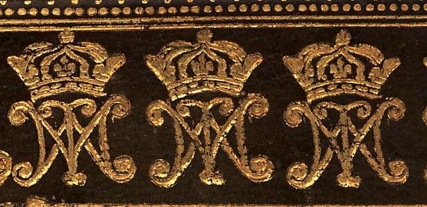 Monograma de María Teresa, Reina consorte de Luis XIV, Rey de Francia: dos M, una de ellas invertida, sobremontadas de corona real