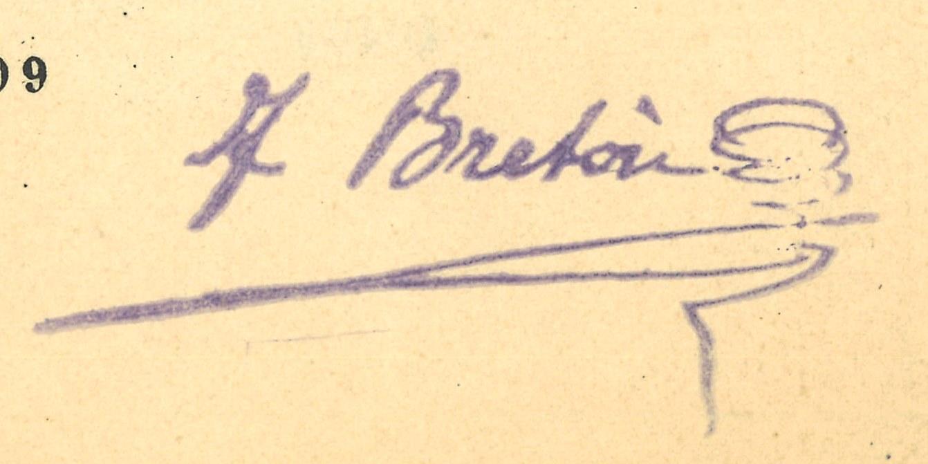 Sello con la firma de Tomás Bretón en tinta morada