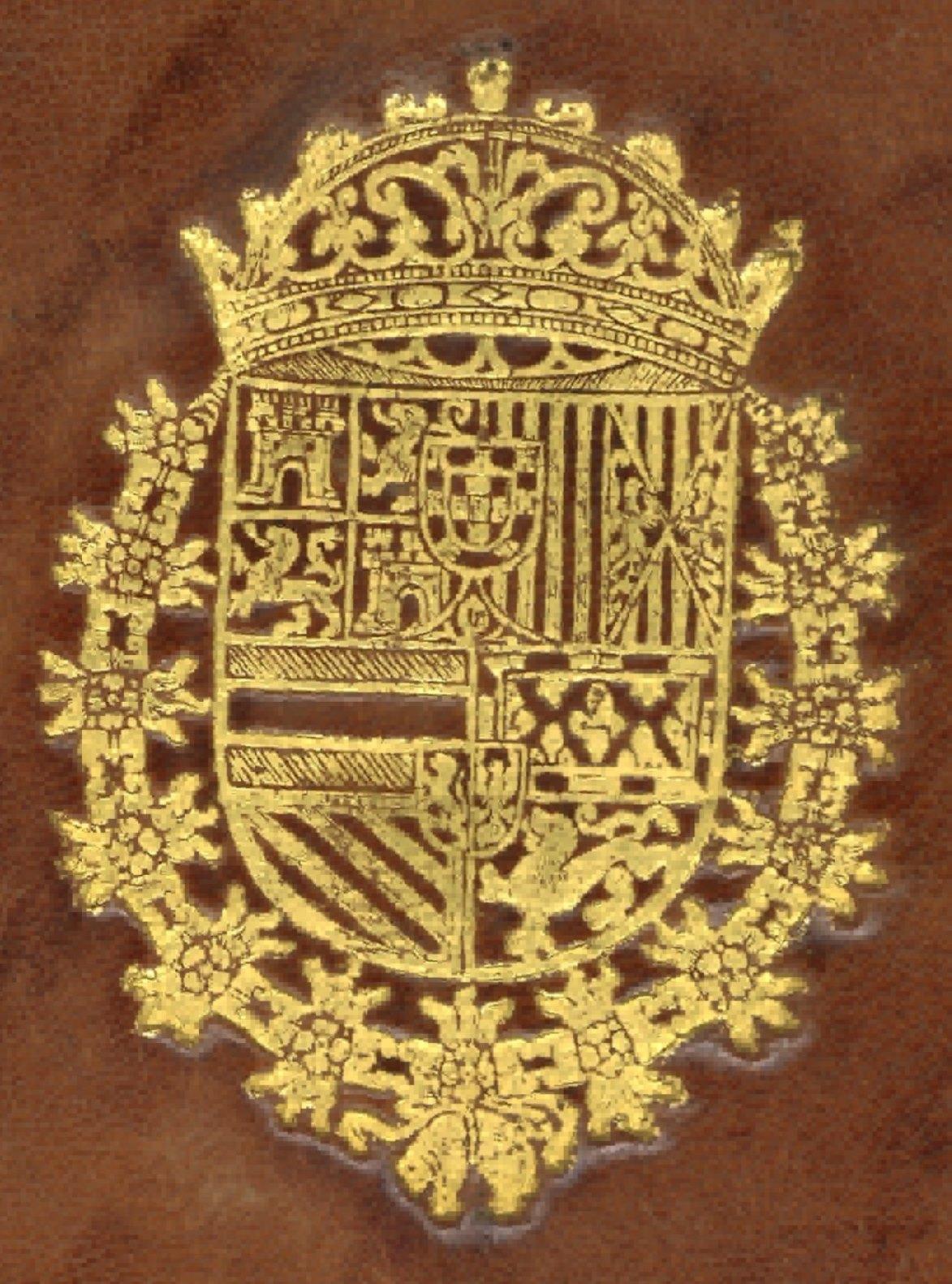 Supralibros heráldico con el escudo real de Carlos II