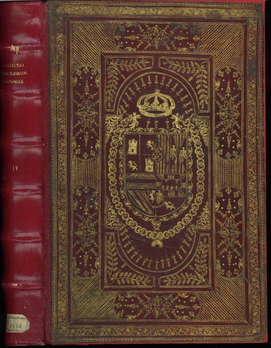 Encuadernación heráldica en piel roja con supralibros central con el escudo real de Carlos II, Rey de España; reencuadernada, tapas originales pegadas sobre encuadernación en piel moderna; no conserva el lomo original