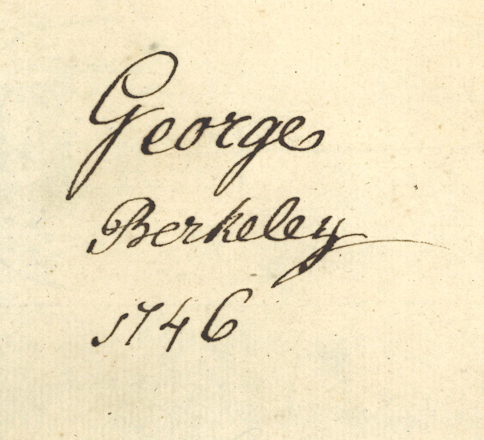 """Anotación manuscrita de propiedad: """"George Berkeley. 1746"""""""