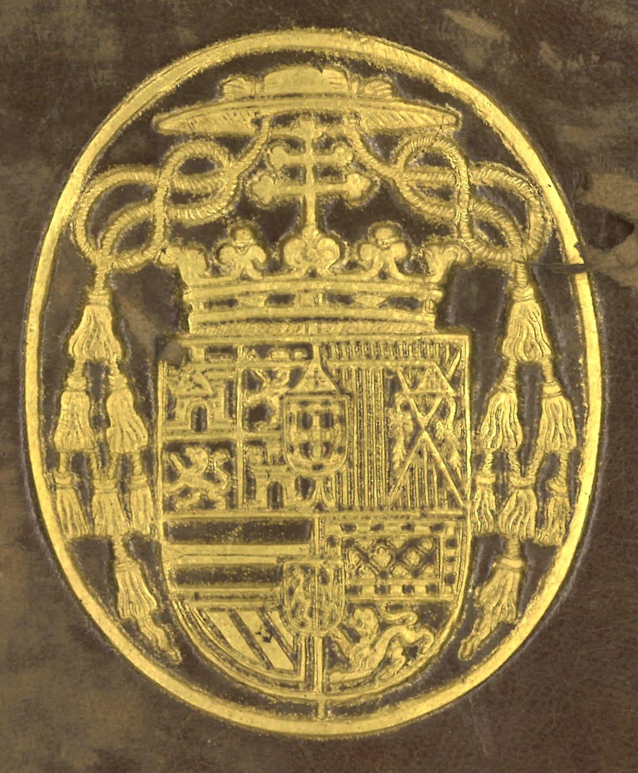 Supralibros heráldico con el escudo de armas del Cardenal Infante Fernando de Austria