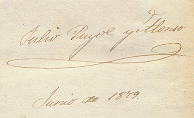 "Firma manuscrita: ""Julio Puyol y Alonso"