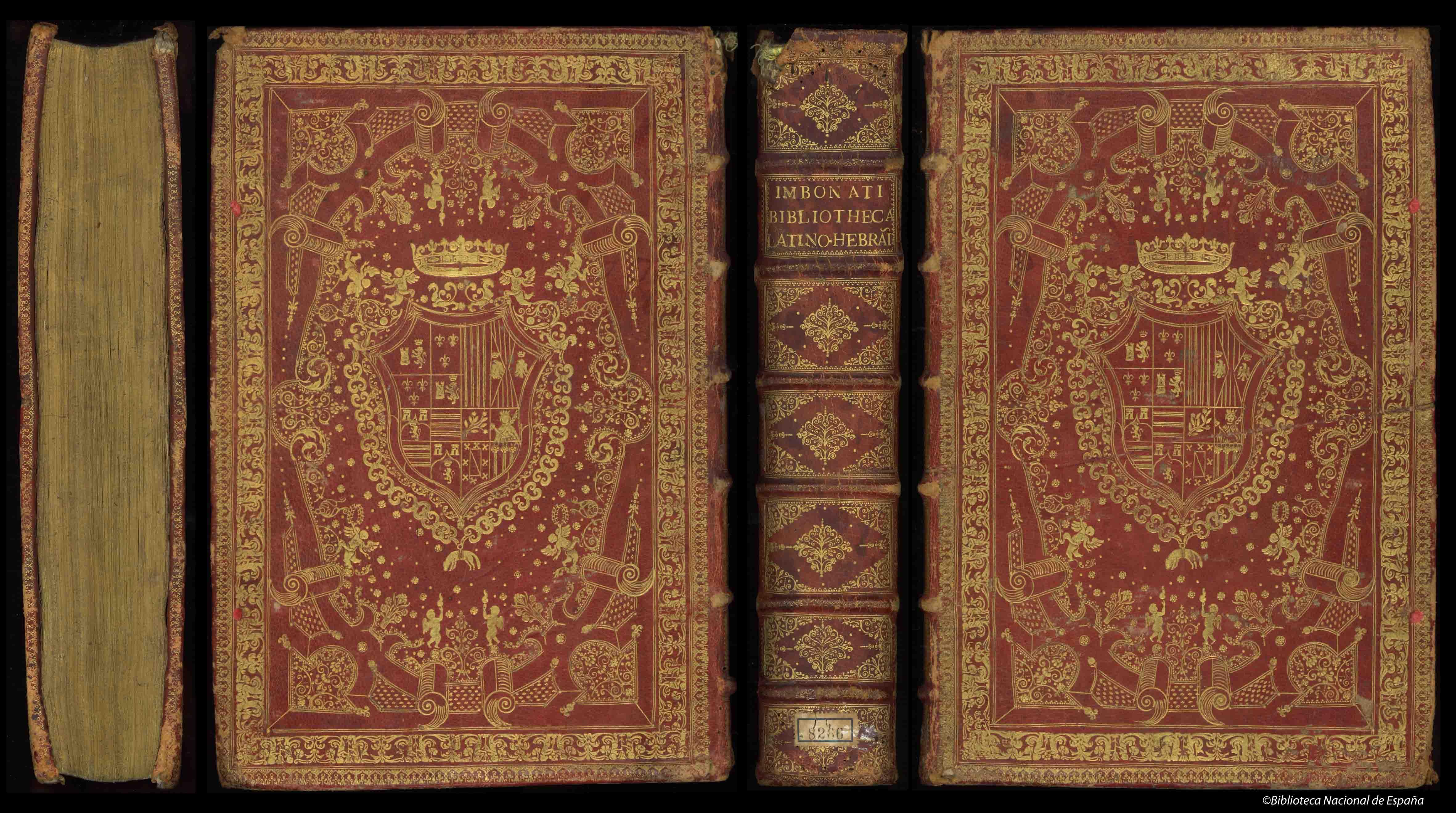 Encuadernación heráldica en piel avellana con hierros dorados en ambas cubiertas y en los cantos ; supralibros central con el escudo de armas del IX Duque de Medinaceli ; lomo cuajado y cortes dorados ; marcas de correíllas de tela