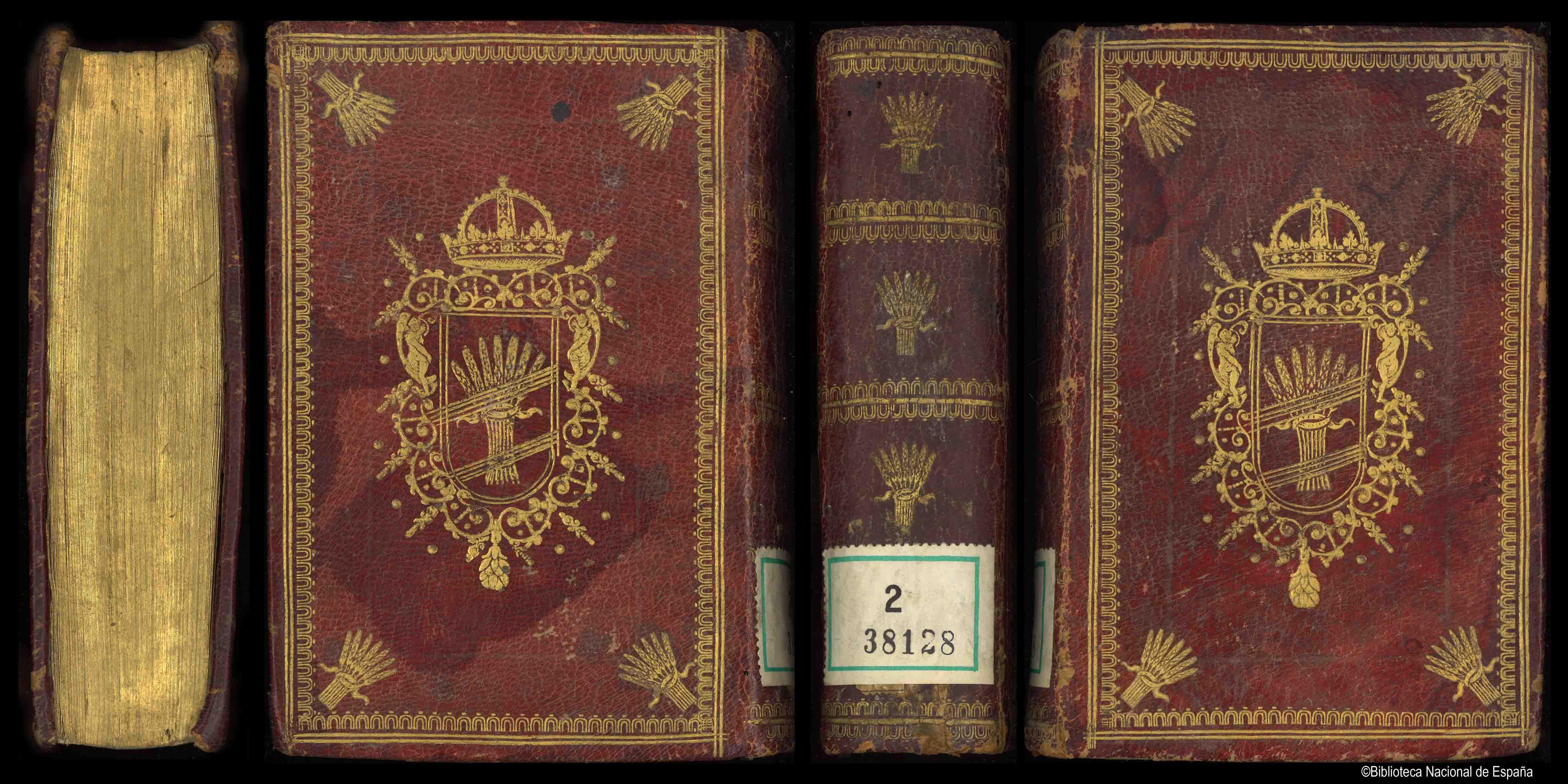 Encuadernación heráldica en tafilete rojo con ambos planos enmarcados por una orla dorada ; en las esquinas y en el lomo, hierros dorados en forma de gavillas de trigo; en el centro escudo de armas de Cristina, Reina de Suecia