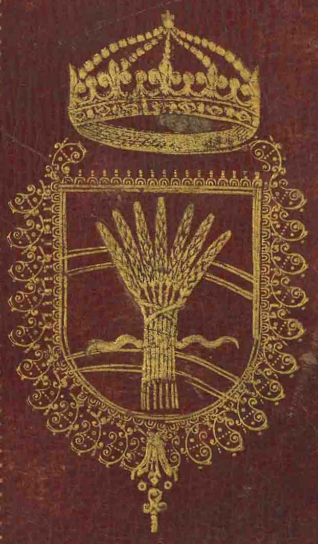 Supralibros heráldico con el escudo de armas de Cristina, Reina de Suecia