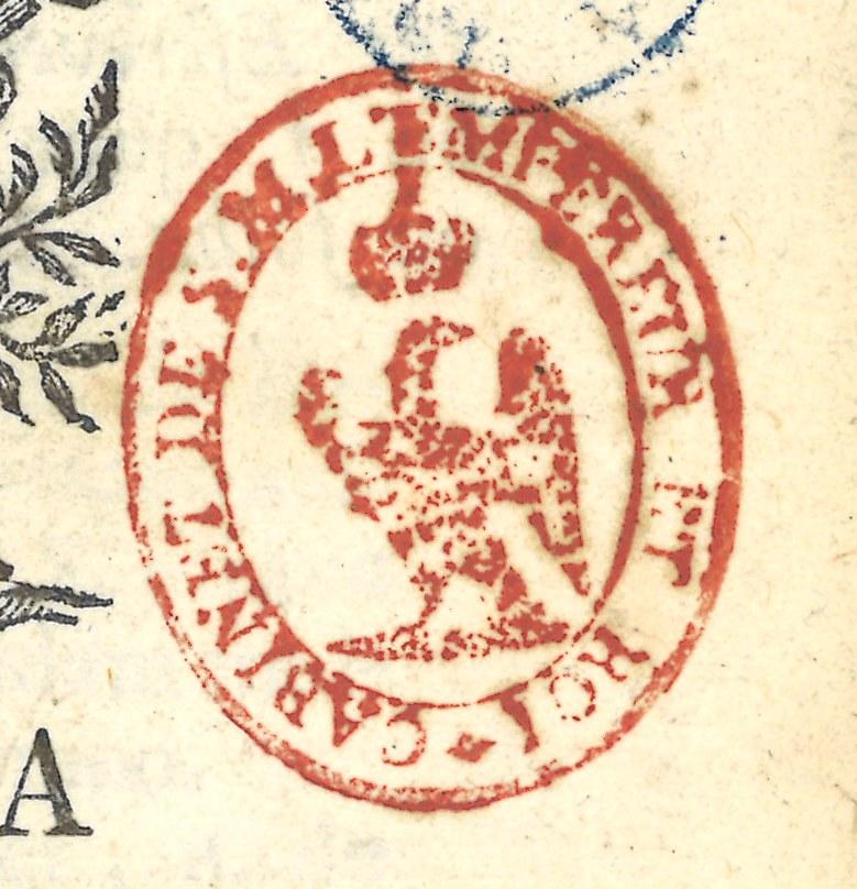 """Sello estampado en tinta roja representando un águila: """"Cabinet de S.M. l'empereur et roi"""""""