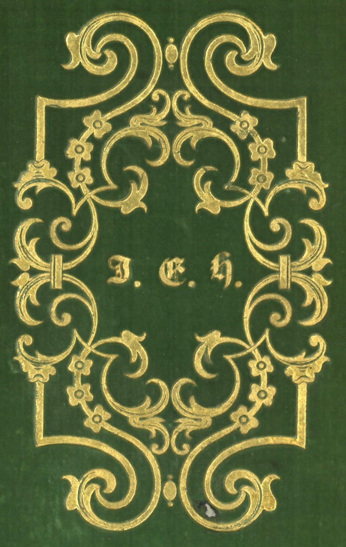 """Supralibros de Juan Eugenio Hartzenbusch: iniciales """"J. E. H."""" en dorado"""