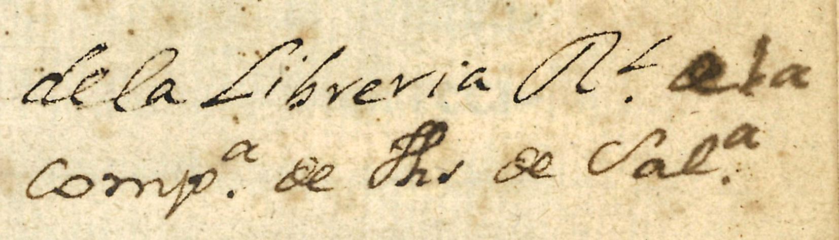 """Anotación manuscrita de propiedad en portada: """"Del R.l Coll.º de la Comp.ª de Jhs de Salam.ª"""""""
