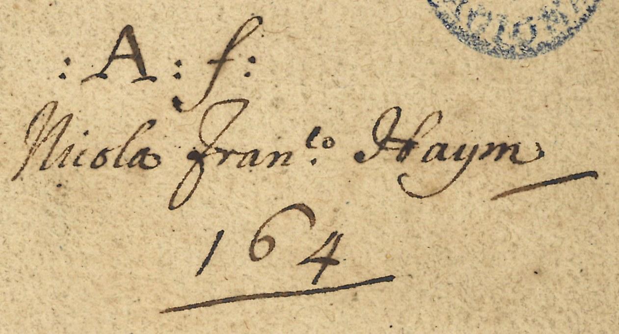 """Anotaciön manuscrita de propiedad: """"A:f: Nicola Fran.co Haym, 164"""""""
